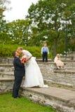 Wedding couple with kids Stock Photography