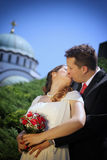 Wedding couple and kiss Stock Photography