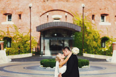 A wedding couple kisses in the front of an entrance to an old ho Stock Image