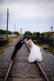 Wedding couple kissing Stock Image