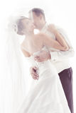 Wedding couple kissing. And happy smiling. Bride portrait. Over white royalty free stock images