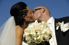 Wedding couple kissing Stock Photo