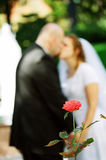Wedding couple kissing. W/ rose in foreground Royalty Free Stock Images