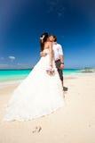 Happy Tropical Wedding Stock Photo