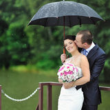 Wedding couple kissing in a rainy day Stock Image
