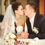Wedding couple kissing. royalty free stock photos