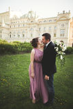 Wedding. Couple. Krakow. The bride in a pink dress and groom posing on background of theater Royalty Free Stock Image