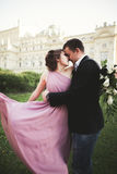 Wedding. Couple. Krakow. The bride in a pink dress and groom posing on background of theater Stock Photos