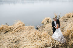 Wedding couple at the lake shore Royalty Free Stock Images
