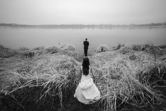 Wedding couple at the lake shore Stock Images