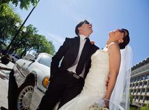 Wedding Couple Laugh Royalty Free Stock Photo