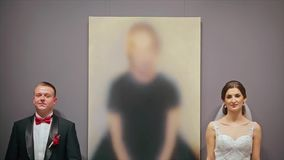 Wedding Couple Look to Each Other stock video footage