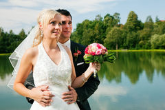 Wedding couple looking into future Stock Image