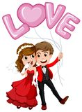 Wedding couple and love balloon Stock Images
