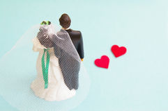 Wedding couple with love hearts Stock Photography
