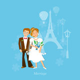 Wedding couple in love honeymoon to Paris. Vector Stock Images