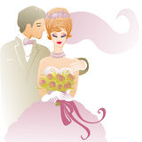 Wedding couple in love. Wedding illustration with affectionate groom and bride Stock Images
