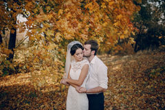 Wedding couple in love outdoors Royalty Free Stock Photo