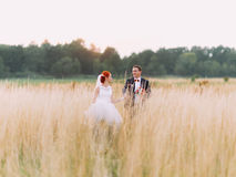 Wedding couple in love running together, enjoying marriage day Royalty Free Stock Images