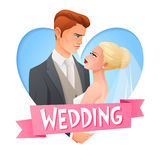Wedding couple in love. Vector image with text. Elegant wedding embracing couple in love watching on each other. Cartoon vector illustration in heart shape Stock Images