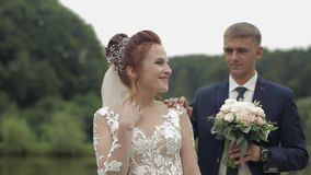 Wedding couple. Lovely groom and bride. Happy family. Man and woman in love stock video footage