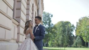 Wedding couple. Lovely groom and bride. Wedding day. Slow motion stock footage