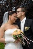 Wedding couple, man kiss brides head Royalty Free Stock Photography