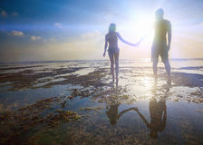 Wedding couple, marriage, honeymoon sumer travel at Hawaii Stock Photos