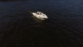 Wedding couple on motorboat in Saint-Petersburg stock video footage
