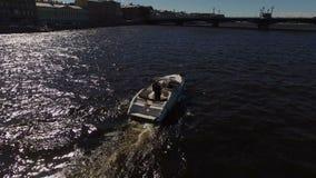 Wedding couple on motorboat in Saint-Petersburg stock footage