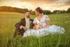 Wedding couple on nature. Stock Photo