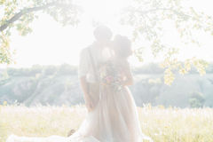 Wedding couple on  nature.  bride and groom hugging against the sun at wedding. Wedding couple on the nature. the bride and groom hugging against the sun at the Royalty Free Stock Image