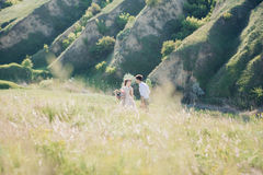 Wedding couple on  nature.  bride and groom hugging at  wedding. Stock Photography