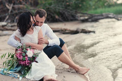 Wedding couple in nature close-up portrait Stock Photos