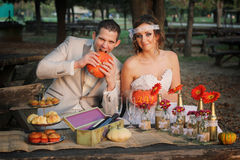 Wedding couple in nature Royalty Free Stock Photos