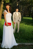 Wedding couple in nature Stock Photography