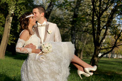 Wedding couple in nature Stock Image