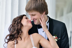 Wedding couple on the nature is hugging each other Royalty Free Stock Image