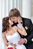Wedding couple on the nature is hugging each other Royalty Free Stock Images