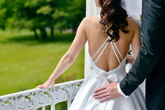 Wedding couple on the nature is hugging each other. Stock Images