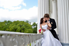 Wedding couple on the nature is hugging each other Stock Images