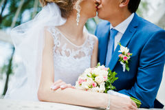 Wedding couple. Near arch of love stock image