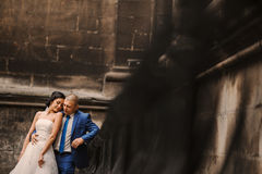 Wedding couple near the castle architecture Royalty Free Stock Images