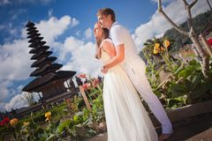 Wedding couple near the famous temple Royalty Free Stock Photo