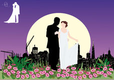 Wedding couple in night city. Illustration with wedding couple silhouette in city Royalty Free Stock Photo