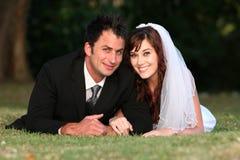 Wedding Couple Outdoors Stock Photos