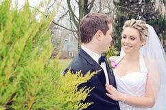 Wedding couple outdoors Stock Photo