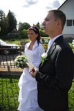 Wedding couple outdoors Royalty Free Stock Images