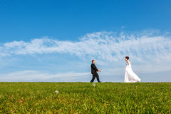 Wedding couple outdoors on blue sky background. Stock Photography
