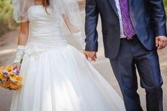 Wedding couple outdoors Royalty Free Stock Photos